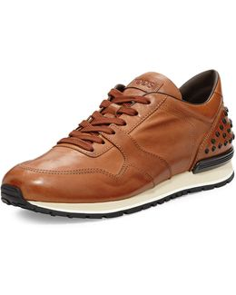 Burnished Leather Trainer Sneaker