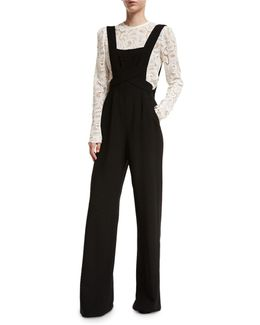 Harlow Crepe Overall Jumpsuit
