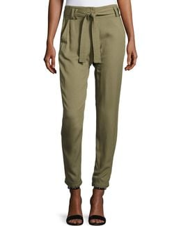 Ansel Belted Twill Straight-leg Pants