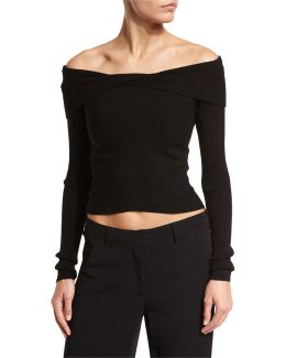 Rayne Cropped Overlap Ribbed Sweater