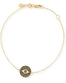 Evil Eye Medallion Bracelet With Diamonds