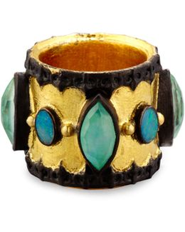 Old World Midnight Scalloped Cigar Ring With Boulder Opals