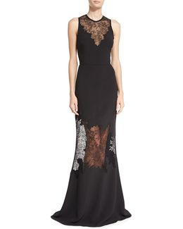 Sleeveless Lace Illusion Gown