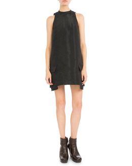 Mock-neck Double-pocket Shift Dress