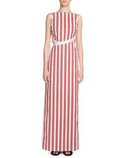 Canvas-trimmed Striped Cotton Maxi Dress