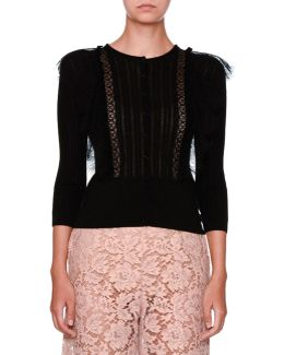 Lace-trim Knit Cardigan