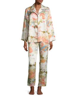 Yuzen Printed Two-piece Pajama Set