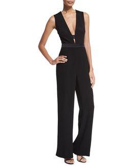 Kyara Plunge-neck Tuxedo Jumpsuit
