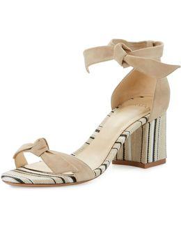 Clarita Suede & Striped Block-heel Sandal