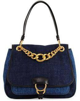 Dahlia Denim Chain Top-handle Bag