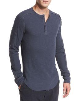 Ribbed Raw-edge Henley T-shirt