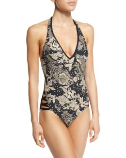 Ornamental Floral Halter One-piece Swimsuit