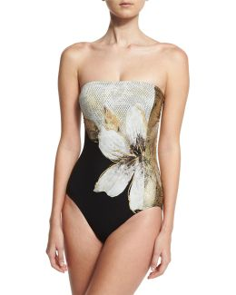Gilded Garden Bandeau One-piece Swimsuit