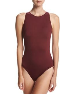 Classic Weave High-neck One-piece Swimsuit