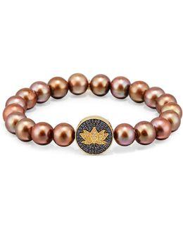 Brown Potato Pearl Bracelet With Sapphire & Diamond Lotus Station