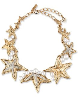 Sea Star Gold And Silver-tone, Swarovski Crystal And Pearl Necklace