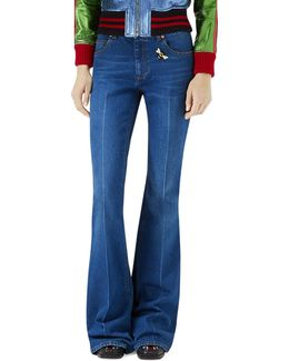 Flare-leg Jeans With Bee & Butterfly Patches