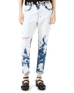 Hand-bleached Denim Pants