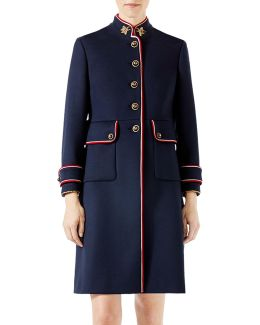 Wool Coat With Bee Patches
