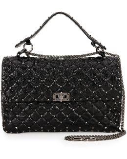 Rockstud Spike Quilted Leather Large Shoulder Bag
