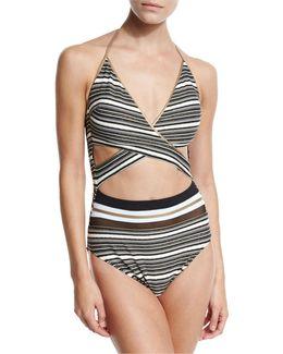 Regatta Metallic-stripe Cutout Swimsuit