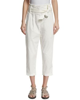 Belted Paperbag-waist Ankle Pants