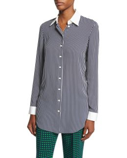 Striped Silk-georgette Blouse