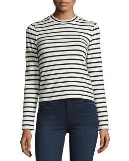 Harper Striped Long-sleeve Crop Top