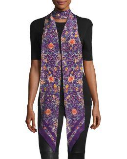 Long Skinny Floral Silk Scarf