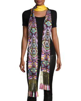 Long Floral Silk Fringe Scarf