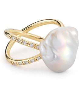 Pearl & Diamond Crossover Ring In 14k Gold