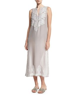 Floral Sleeveless Embroidered Silk Chiffon Long Caftan Coverup