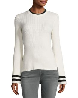Bell-sleeve Ribbed Crewneck Sweater