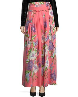Floral-print D-ring Silk Midi Skirt