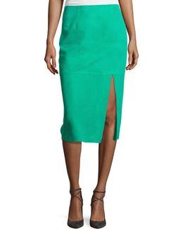 Suede Side-slit Pencil Skirt