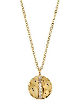 18k Gold Sensotm Medium 15.5mm Disc Pendant Necklace With Diamonds