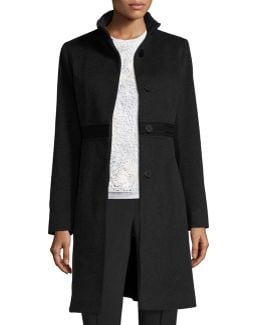 Wool Lace-trim Coat