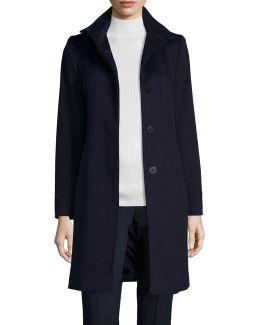Funnel-neck Wool Button-front Coat