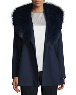 Short Wool Wrap Coat W/ Fox Fur
