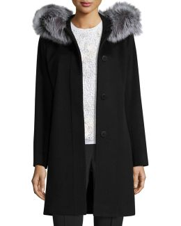 Hooded Wool Fur-trim Coat