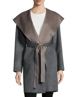 Double-face Hooded Wool Wrap