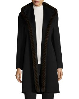 Wool Open-front Coat W/ Mink Fur