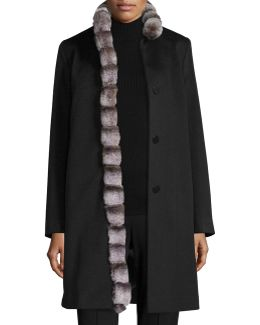 Wool Coat W/ Rabbit Fur Trim