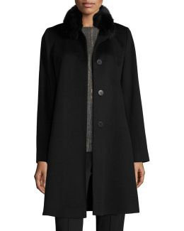 Fox-trim Wool Button-front Coat