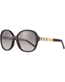Rounded-square Check-trim Sunglasses