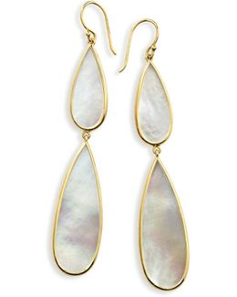 18k Rock Candy Double-drop Mother-of-pearl Earrings