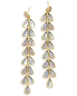 18k Rock Candy Long Mother-of-pearl Teardrop Earrings