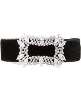 Toria Velvet Crystal-buckle Choker Necklace