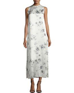 Sleeveless Floral Silk Midi Dress