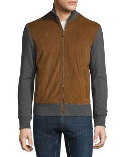 Suede-panel Front-zip Sweater